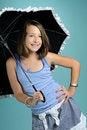 Free Girl Smiling Under Umbrella Stock Photo - 15895940