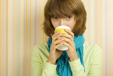 Free Coffee Girl Royalty Free Stock Photography - 15890067