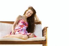 Free Beautiful Girl Sitting On Beach Bed Royalty Free Stock Photos - 15892068