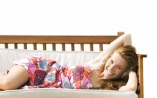 Free Beautiful Girl On Beach Sofa Over White Stock Photography - 15892082