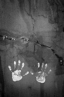Free Handprints On Textured Wall Royalty Free Stock Photos - 15892388
