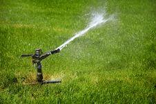 Sprinkler On Grass Stock Images