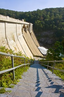 Stairway Leading To Dam Stock Photo
