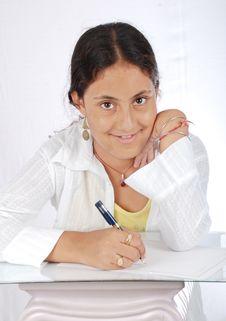 Free Girl Writing Portrait Stock Photos - 15895033