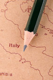 Pencil And Map Stock Image