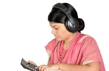 Girl With Headphone Stock Images