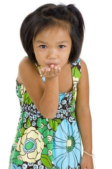 Free Little Girl Blowing A Kiss Stock Photos - 15896573