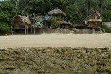 Bamboo Hut On Beach Royalty Free Stock Image