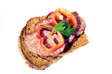 Free Sandwich With Sausage, Pepper And Greens Royalty Free Stock Images - 15896769