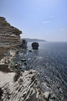 France, Corsica, Bonifacio Rocky Coastline Royalty Free Stock Image