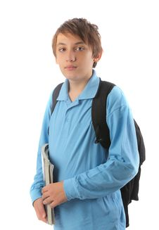 Free Teen With Backpack And Books Royalty Free Stock Photo - 15899165