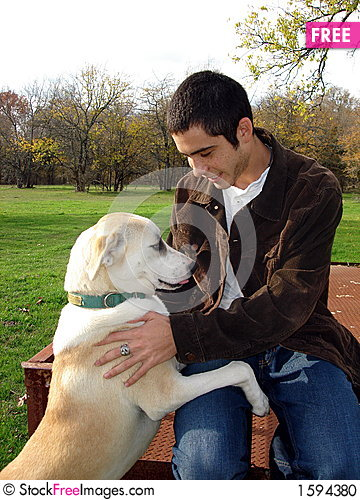 Young man and dog Stock Photo