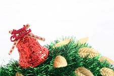 Red Christmas Bell & Golden Leaves Royalty Free Stock Images