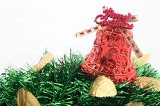 Red Christmas Bell & Golden Leaves Royalty Free Stock Photo