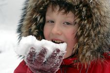 Free Snow Testing (young Boy Eating First Snow) Royalty Free Stock Images - 1593589