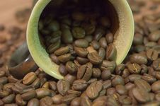 Cup Filled With Coffee Beans Stock Images