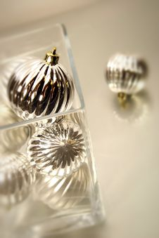Free Ornaments In Glass Bowl/ Soft Focus Stock Image - 1594701