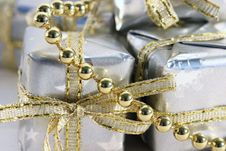 Little Silver Gifts Gold Beads Stock Images