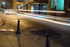 Free Night Time On Beacon Street With Light Trails Stock Photography - 1595032