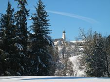 Free Winter Meadow - Church And Trees Stock Photography - 1596702
