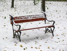 Free Red Park Bench Stock Photo - 1596880