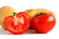 Free Potatoes And Sliced Tomatoes (1) Stock Photography - 1598842