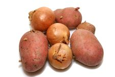 Free Bunch Of Potatoes And Onions Royalty Free Stock Photos - 1599598