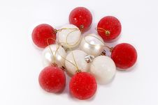 Free Red, Silver And White Christmas Balls Royalty Free Stock Photo - 1599775