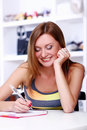 Free Happy Student Girl Writing Somethink Royalty Free Stock Photos - 15908058