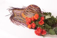 Free Flowers Roses And An Orange Hat Royalty Free Stock Photo - 15900155