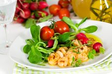 Roasted Prawns With Salad Of Corn Salad,radish,Che Stock Photography