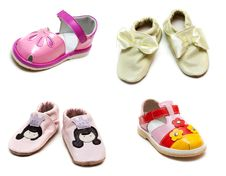 Collage From Baby Sandals Stock Images