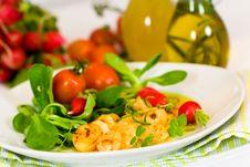 Roasted Prawns With Salad Of Corn Salad,radish,Che Stock Photo