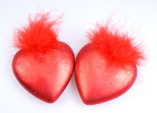 Decorations - Two Red Hearts Stock Photos