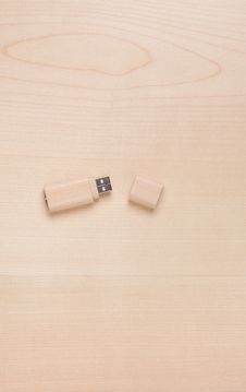 Blank USB Stick On Wood Royalty Free Stock Photos