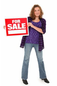 Free Beautiful 13 Year Old Teen With For Sale Sign Stock Image - 15904831