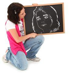 Free Beautiful Girl With Chalkboard Royalty Free Stock Image - 15904836