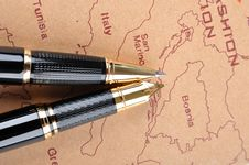 Free Pens And Map Royalty Free Stock Photos - 15904938