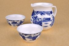 Free Set Of Chinese Blue Painting Tea Ware Royalty Free Stock Photos - 15904948