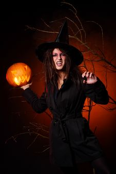 Free A Beautiful Woman Witha Pumpkin In The Hand Stock Image - 15905861