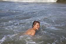 Boy Has Fun In The Ocean Royalty Free Stock Photography