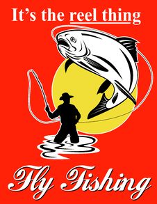 Free Fly Fisherman Catching Trout Royalty Free Stock Images - 15908319