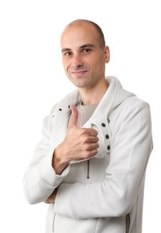 Free Happy Casual Young Man Showing Thumb Royalty Free Stock Images - 15908639