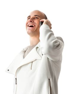 Man Smiling And Talking On A Mobile Phone Stock Image