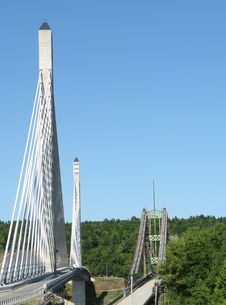 Free Penobscot Narrows Bridge, Old & New Royalty Free Stock Image - 15909176