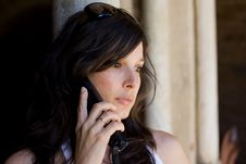 Free Beautiful Woman Talking On Cell Phone Royalty Free Stock Photography - 15909187