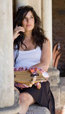 Free Beautiful Woman Talking On Cell Phone Royalty Free Stock Photo - 15909745