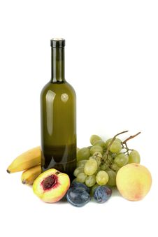 Wine Bottle And Fruits Royalty Free Stock Photography