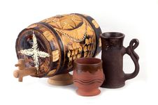 Barrel And Clay Cup Stock Photography