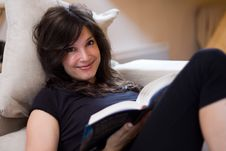 Free Beautiful Woman Reading A Book Stock Image - 15910311